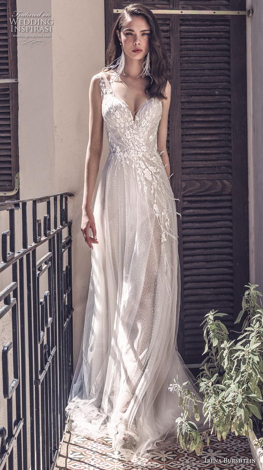 irena burshtein 2020 bridal sleeveless with strap sweetheart neckline heavily embellished bodice romantic modified a  line wedding dress v back medium train (4) mv