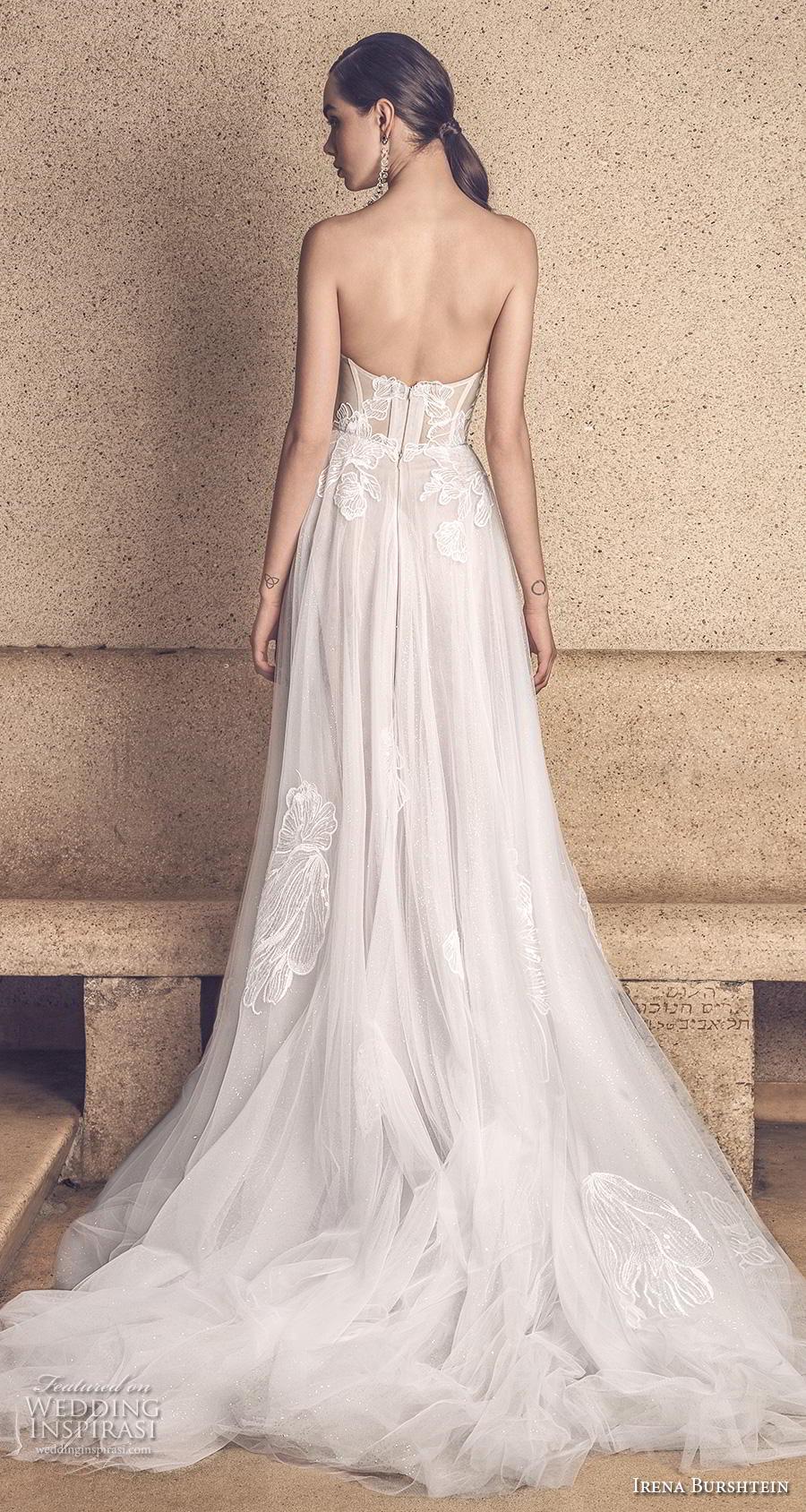 irena burshtein 2020 bridal strapless sweetheart neckline heavily embellished bodice romantic soft a  line wedding dress mid back chapel train (10) bv