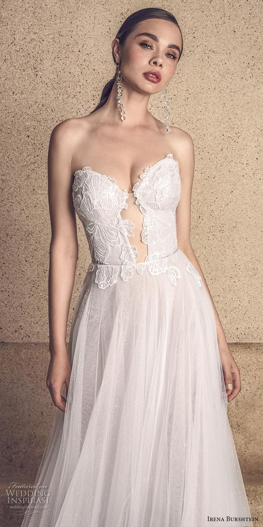 irena burshtein 2020 bridal strapless sweetheart neckline heavily embellished bodice romantic soft a  line wedding dress mid back chapel train (10) lv
