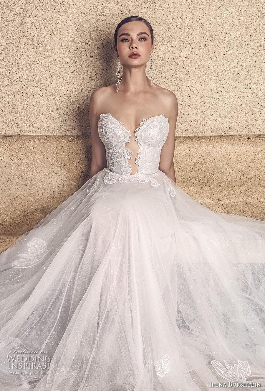 irena burshtein 2020 bridal strapless sweetheart neckline heavily embellished bodice romantic soft a  line wedding dress mid back chapel train (10) mv