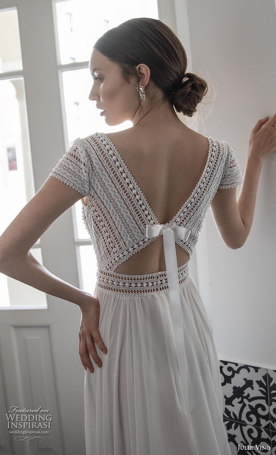 julie vino 2020 romanzo bridal cap sleeves deep v neck heavily embellished bodice skirt elegant sexy soft a  line wedding dress v back long train (9) bv