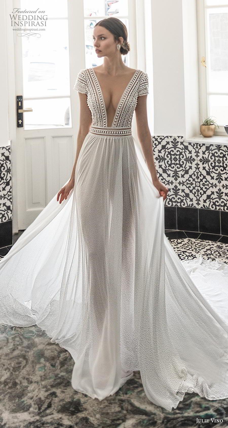 julie vino 2020 romanzo bridal cap sleeves deep v neck heavily embellished bodice skirt elegant sexy soft a  line wedding dress v back long train (9) lv