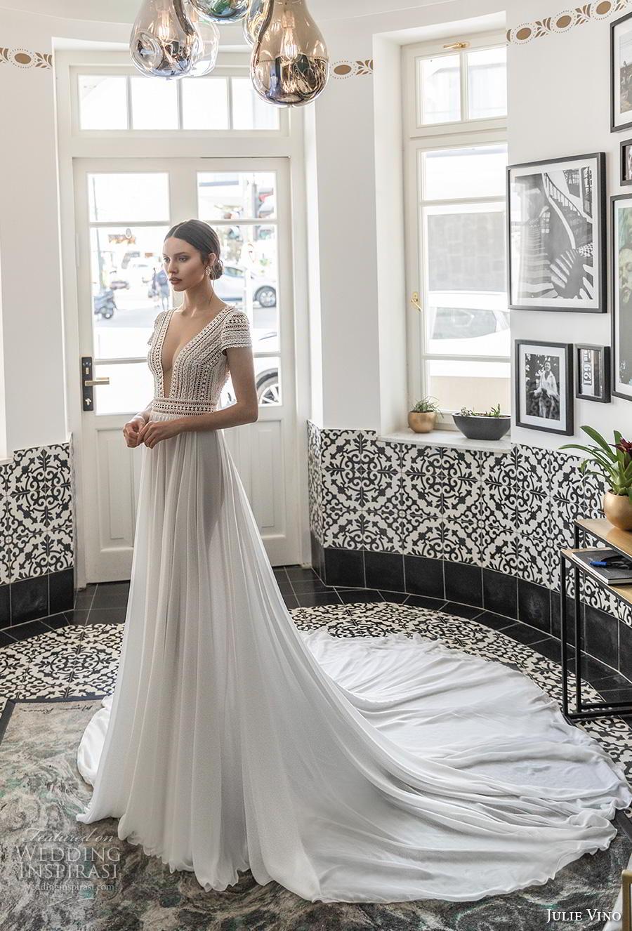 julie vino 2020 romanzo bridal cap sleeves deep v neck heavily embellished bodice skirt elegant sexy soft a  line wedding dress v back long train (9) mv