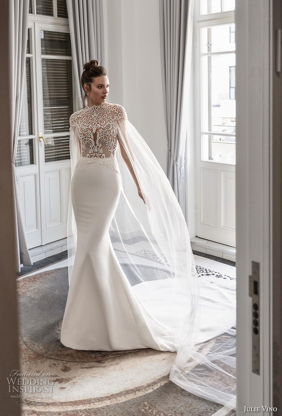 julie vino 2020 romanzo bridal cap sleeves high neck heavily embellished bodice elegant goddess fit and flare wedding dress with cape backless low back chapel train (3) mv