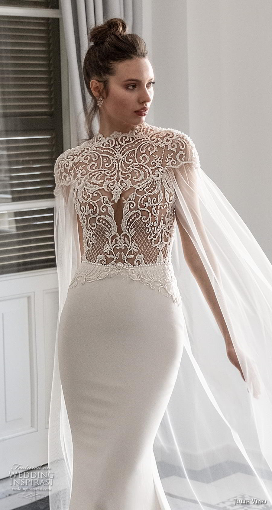julie vino 2020 romanzo bridal cap sleeves high neck heavily embellished bodice elegant goddess fit and flare wedding dress with cape backless low back chapel train (3) zv