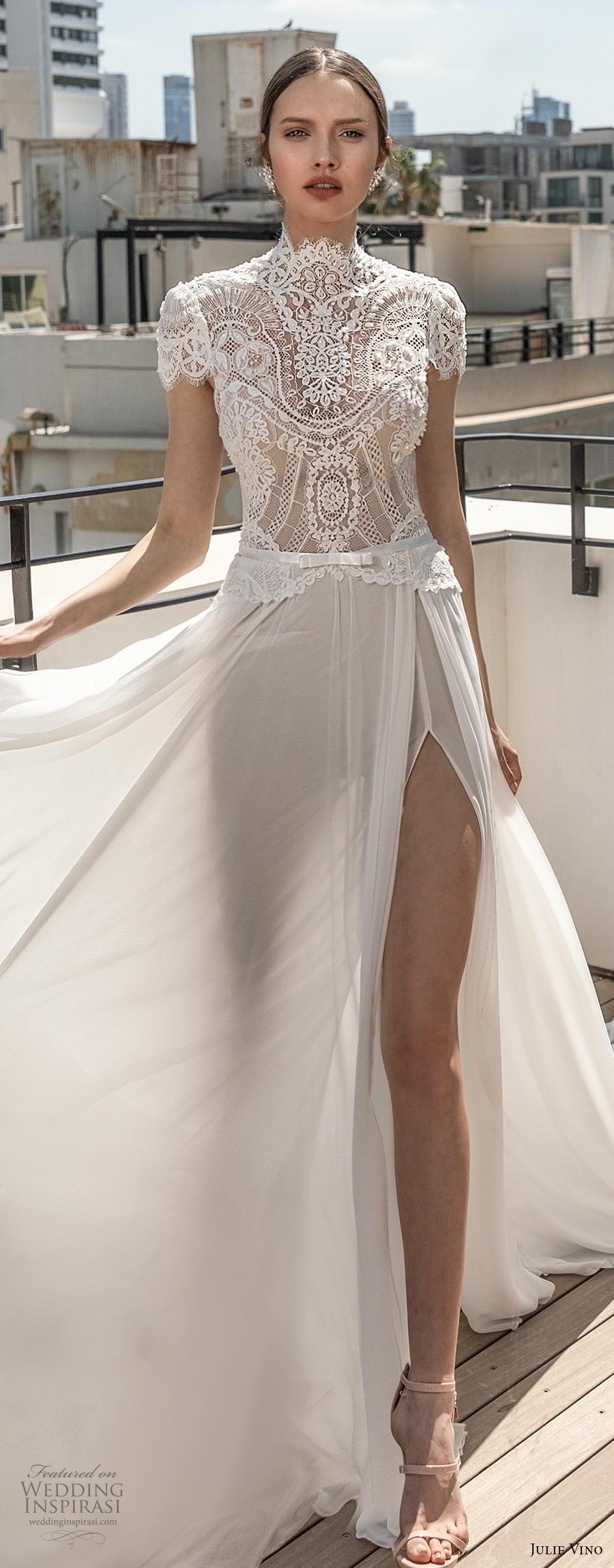 julie vino 2020 romanzo bridal cap sleeves high neckline heavily embellished bodice slit skirt elegant romantic soft a  line wedding dress chapel train (8) lv