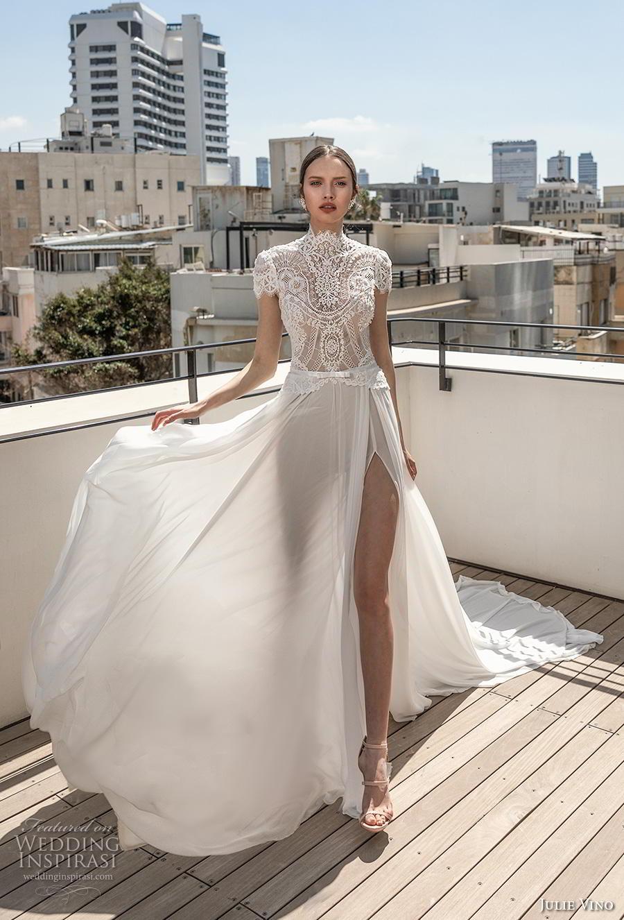 julie vino 2020 romanzo bridal cap sleeves high neckline heavily embellished bodice slit skirt elegant romantic soft a  line wedding dress chapel train (8) mv
