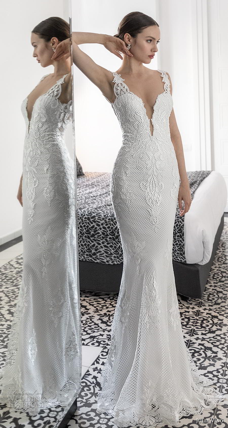 julie vino 2020 romanzo bridal embroidered strap deep plunging sweetheart neckline heavily embellished bodice elegant sexy fit and flare wedding dress  backless low back sweep train (6) mv
