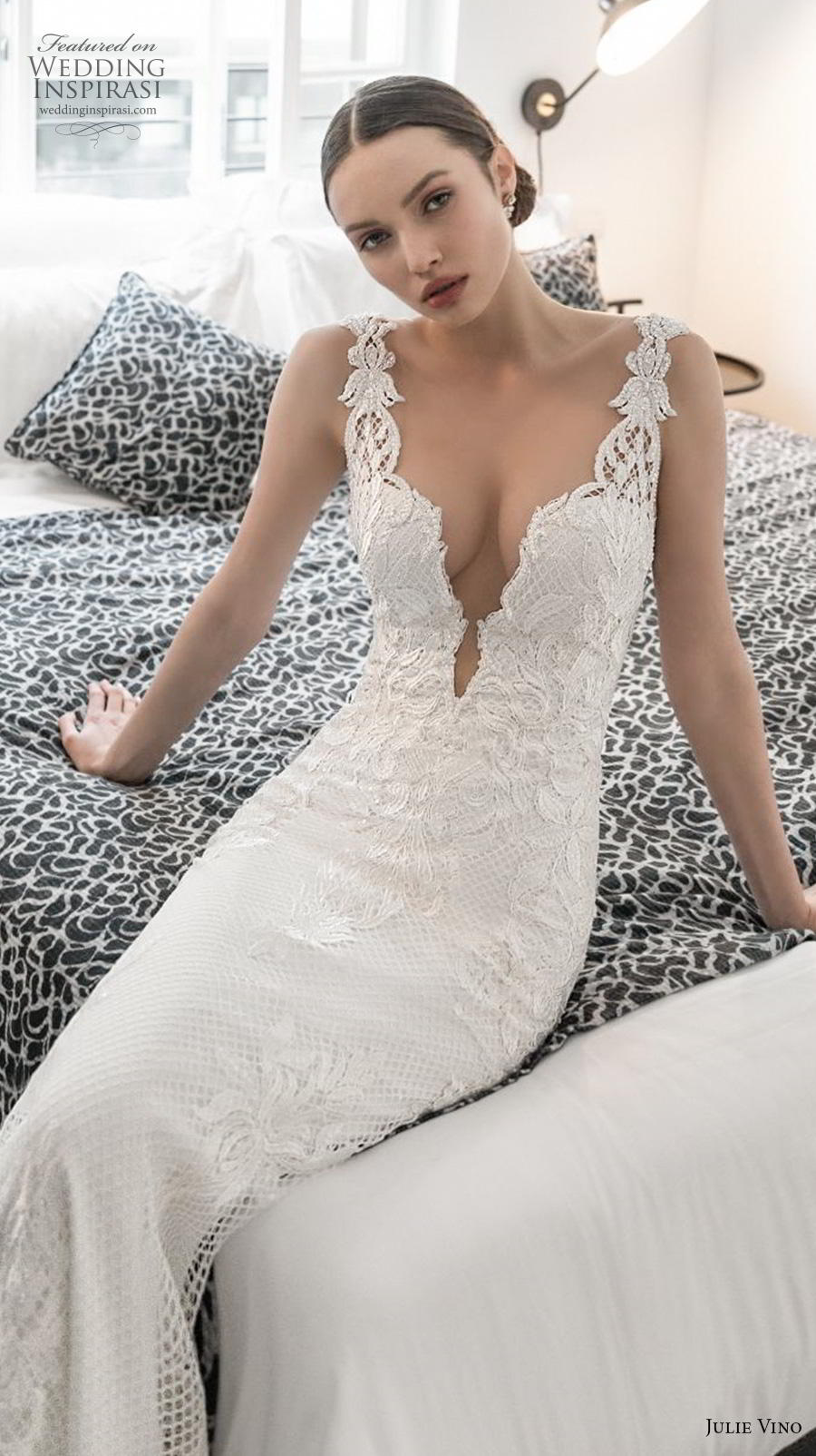 julie vino 2020 romanzo bridal embroidered strap deep plunging sweetheart neckline heavily embellished bodice elegant sexy fit and flare wedding dress  backless low back sweep train (6) zv