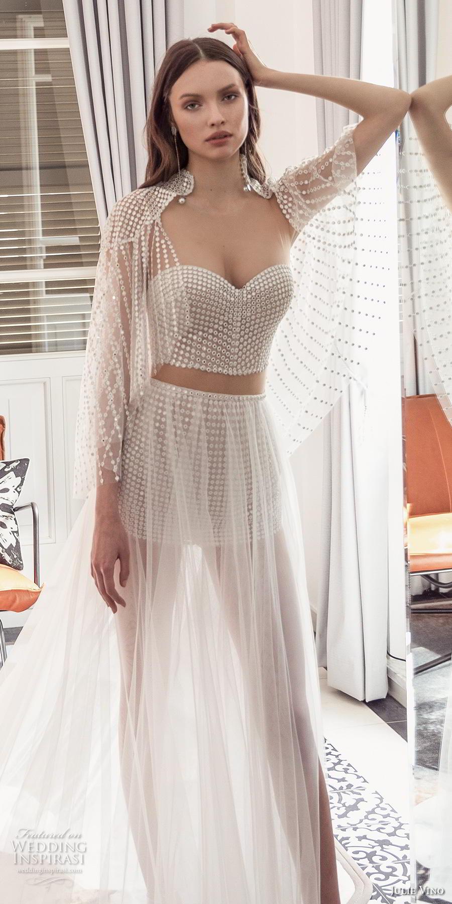 julie vino 2020 romanzo bridal long angel sleeves sweetheart neckline full embellishment crop top glamorous modern soft a  line wedding dress with cape long train (10) lv