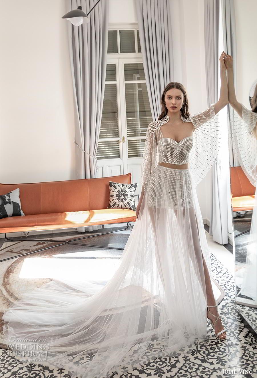 julie vino 2020 romanzo bridal long angel sleeves sweetheart neckline full embellishment crop top glamorous modern soft a  line wedding dress with cape long train (10) mv