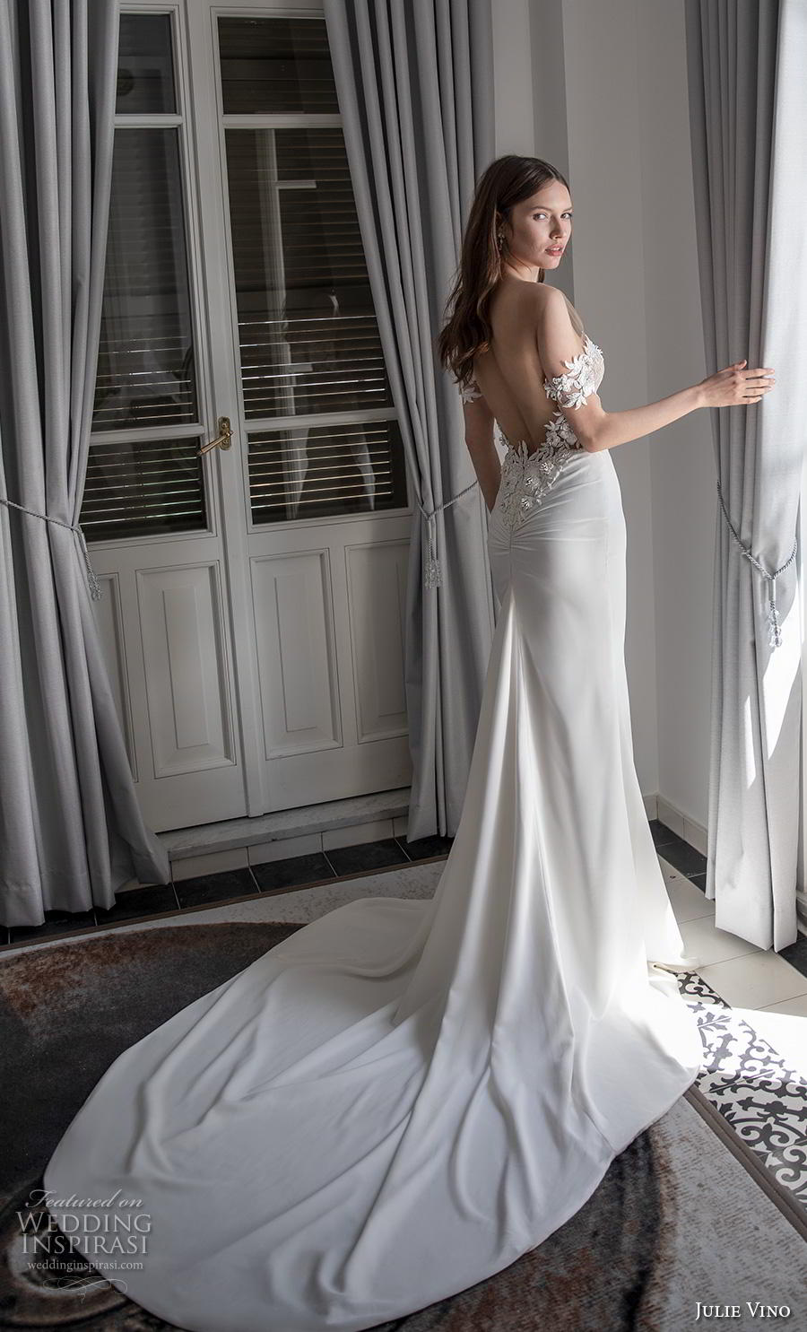 julie vino 2020 romanzo bridal off the shoulder deep plunging sweetheart neckline heavily embellished bodice romantic fit and flare wedding dress backless low back chapel train (5) bv