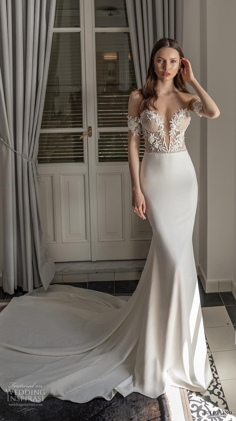 julie vino 2020 romanzo bridal off the shoulder deep plunging sweetheart neckline heavily embellished bodice romantic fit and flare wedding dress backless low back chapel train (5) mv