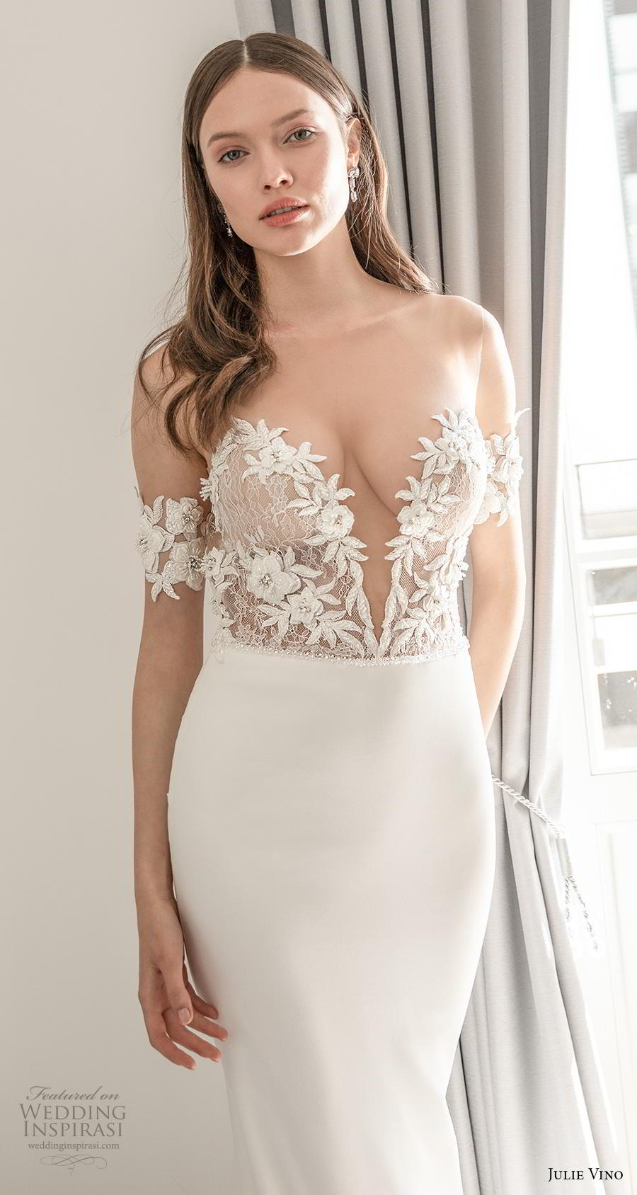 julie vino 2020 romanzo bridal off the shoulder deep plunging sweetheart neckline heavily embellished bodice romantic fit and flare wedding dress backless low back chapel train (5) zv