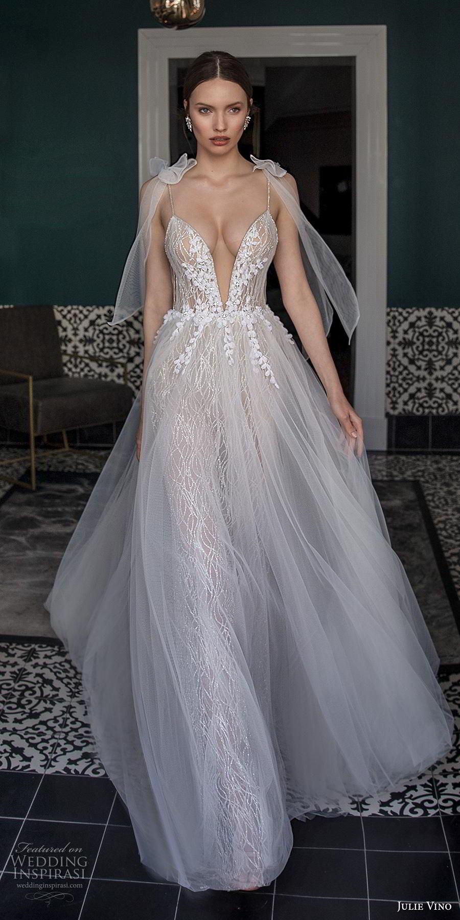 julie vino 2020 romanzo bridal ribbon spaghetti strap deep plunging sweetheart neckline full embellishment sexy romantic soft a  line wedding dress chapel train (12) lv