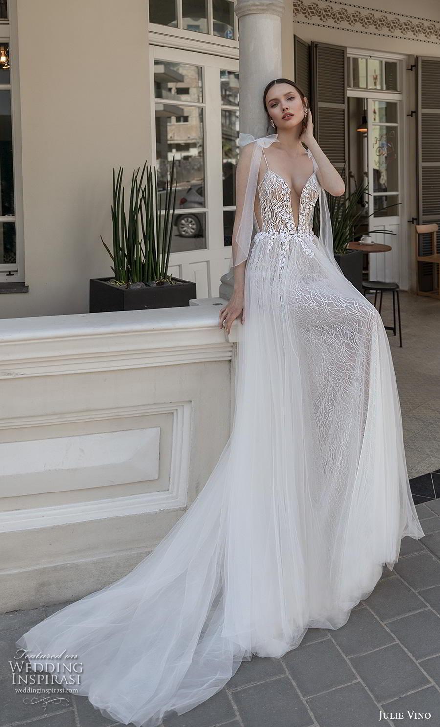 julie vino 2020 romanzo bridal ribbon spaghetti strap deep plunging sweetheart neckline full embellishment sexy romantic soft a  line wedding dress chapel train (12) mv