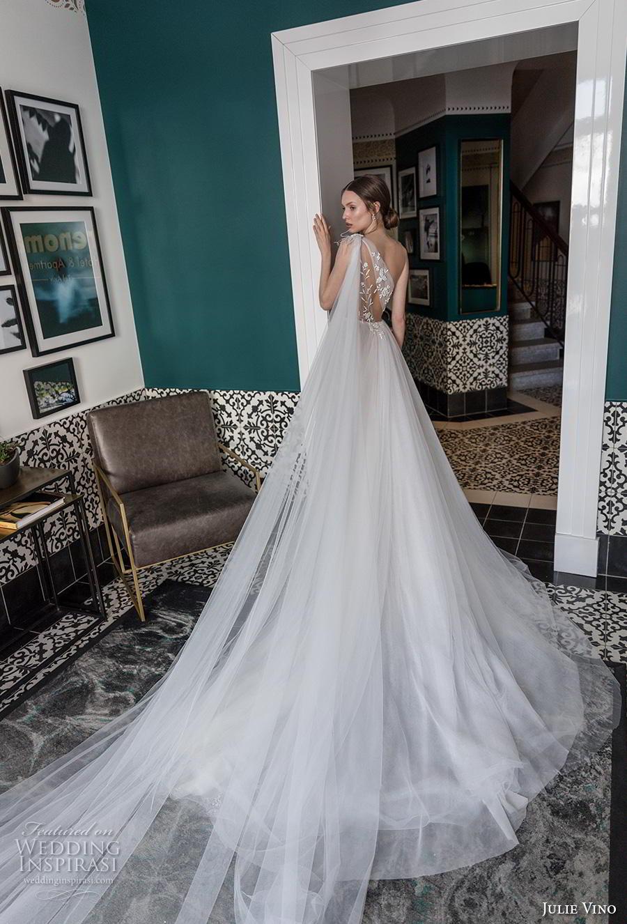 julie vino 2020 romanzo bridal strapless illusion one shoulder sweetheart neckline heavily embellished bodice tulle skirt romantic a  line wedding dress chapel train (7) bv