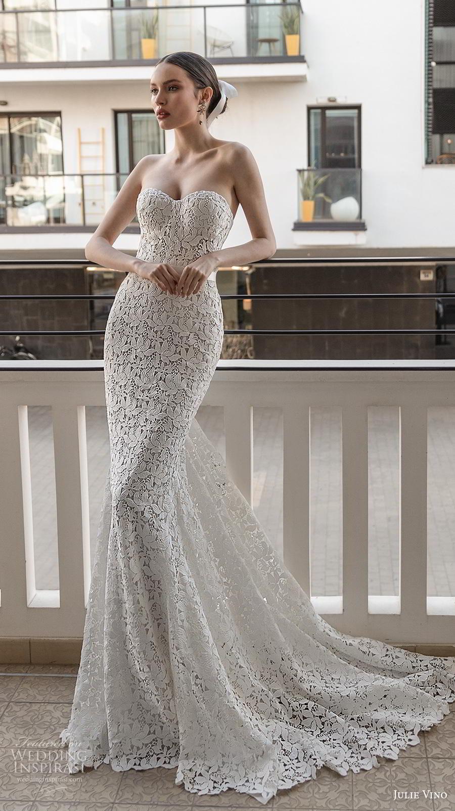 julie vino 2020 romanzo bridal strapless sweetheart neckline full embellishment bustier elegant romantic fit and flare wedding dress mid back chapel train (4) mv