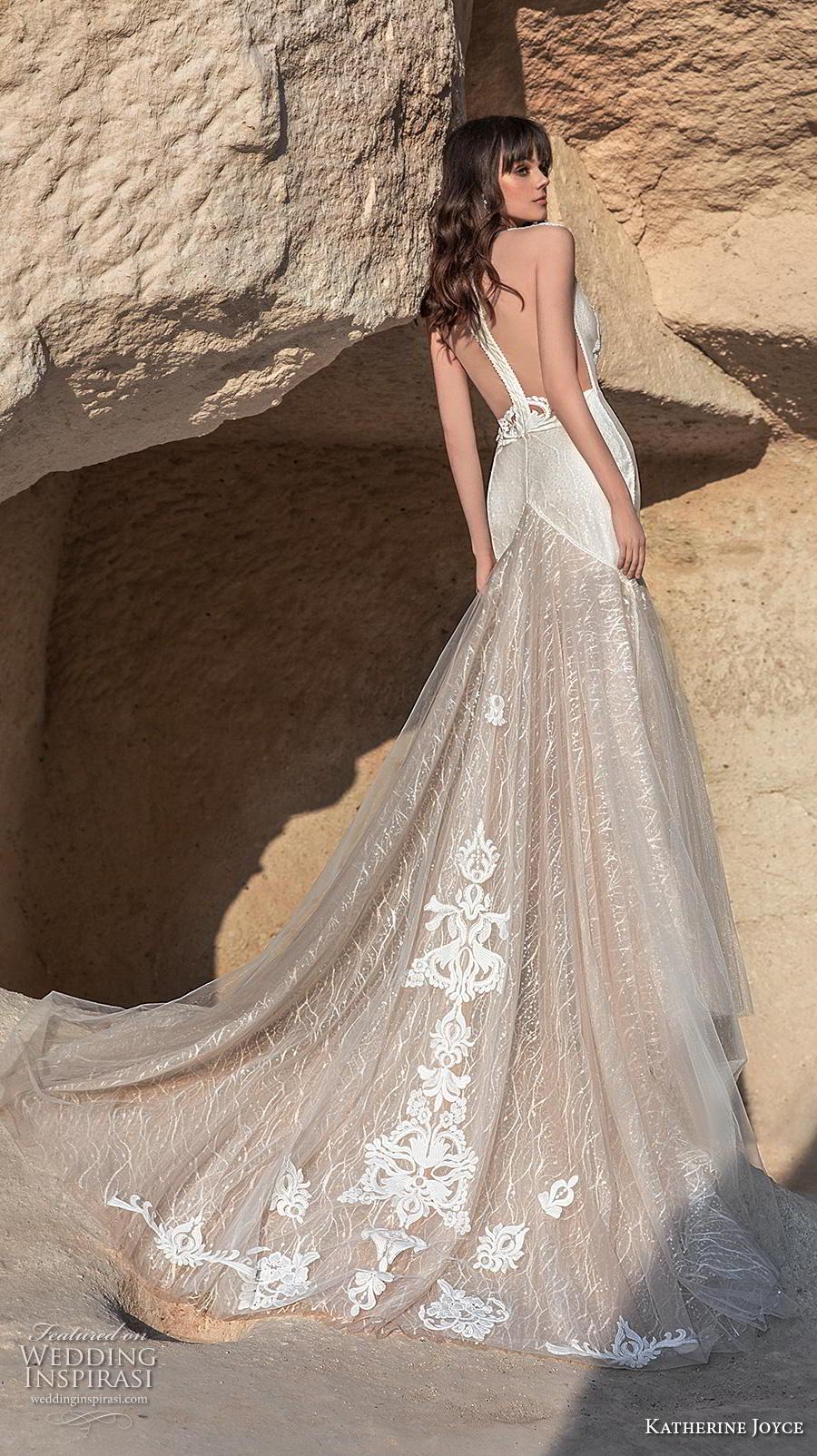 katherine joyce 2020 bridal cap sleeves bateau neckline full embellishment elegant fit and flare wedding dress sheer button low back chapel train (14) bv