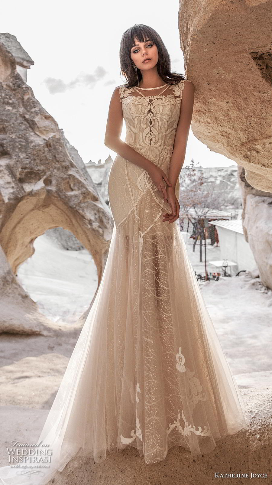 katherine joyce 2020 bridal cap sleeves bateau neckline full embellishment elegant fit and flare wedding dress sheer button low back chapel train (14) mv