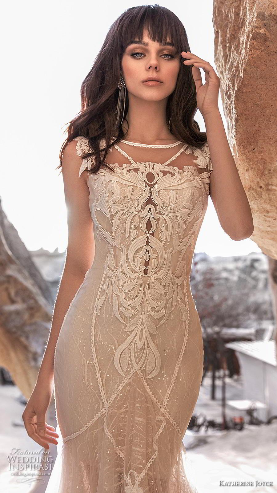 katherine joyce 2020 bridal cap sleeves bateau neckline full embellishment elegant fit and flare wedding dress sheer button low back chapel train (14) zv