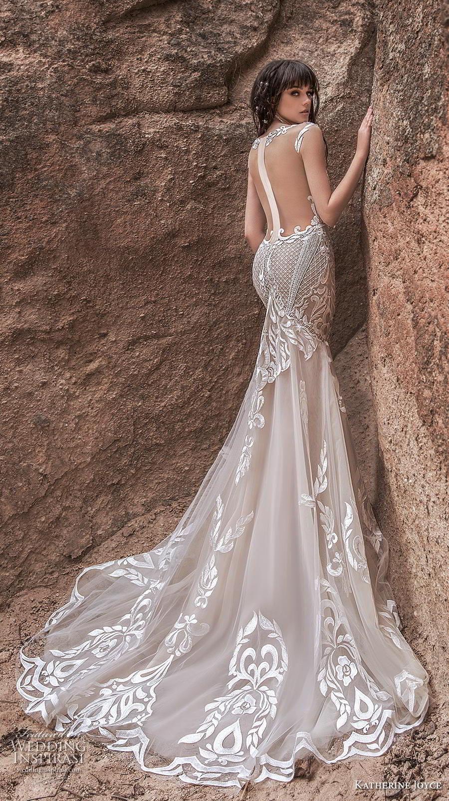 katherine joyce 2020 bridal cap sleeves bateau neckline full embellishment glamorous elegant ivory mermaid wedding dress sheer button low back chapel train (7) bv