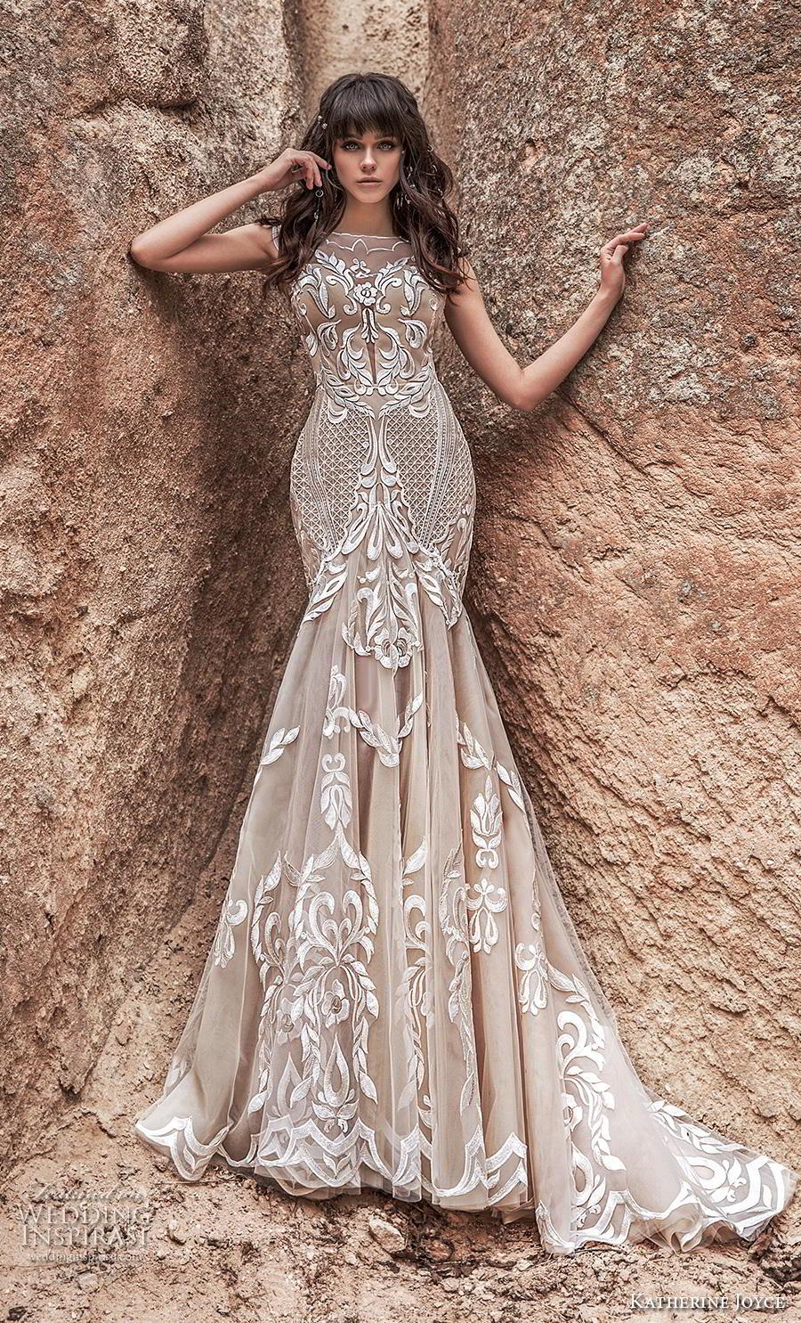 katherine joyce 2020 bridal cap sleeves bateau neckline full embellishment glamorous elegant ivory mermaid wedding dress sheer button low back chapel train (7) mv