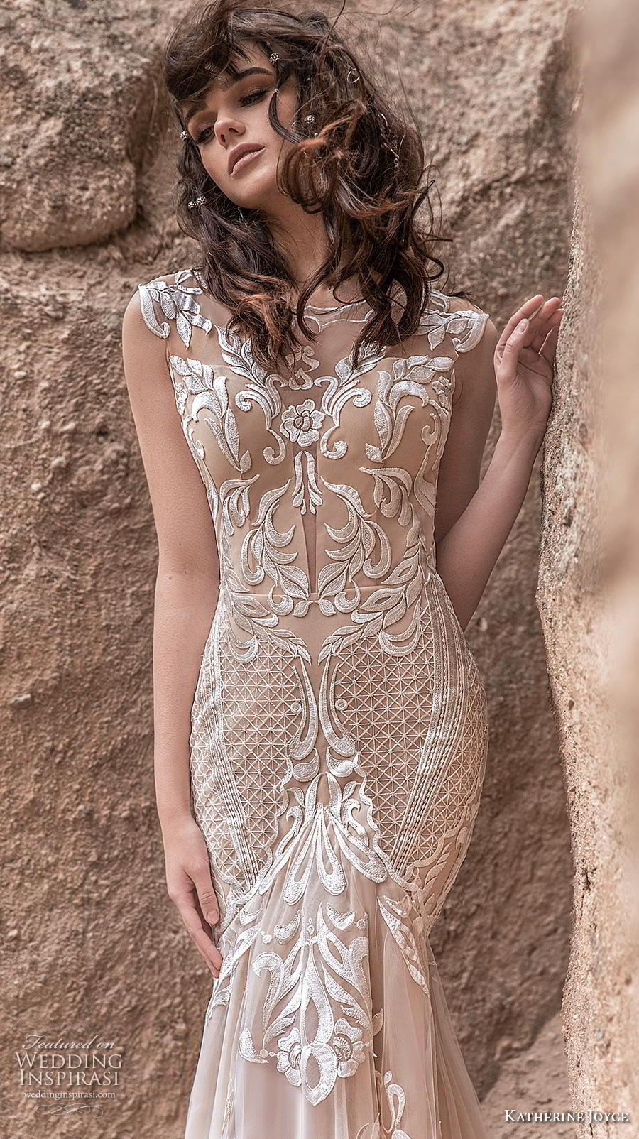 katherine joyce 2020 bridal cap sleeves bateau neckline full embellishment glamorous elegant ivory mermaid wedding dress sheer button low back chapel train (7) zv