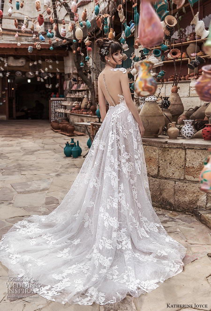 katherine joyce 2020 bridal cap sleeves illusion bateau sweetheart neckline full embellishment slit skirt glamorous princess a  line wedding dress sheer button back chapel train (5) bv