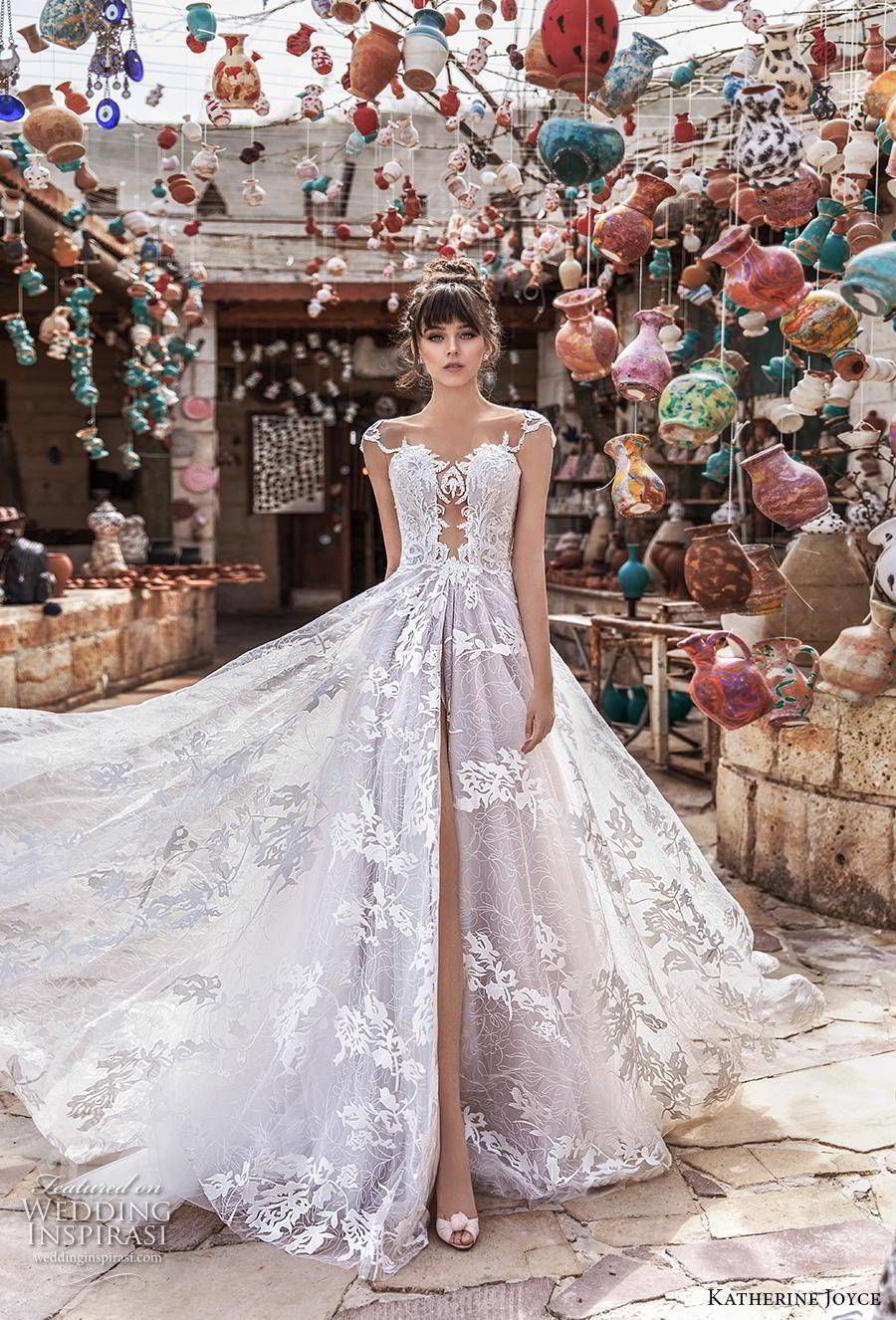 katherine joyce 2020 bridal cap sleeves illusion bateau sweetheart neckline full embellishment slit skirt glamorous princess a  line wedding dress sheer button back chapel train (5) mv