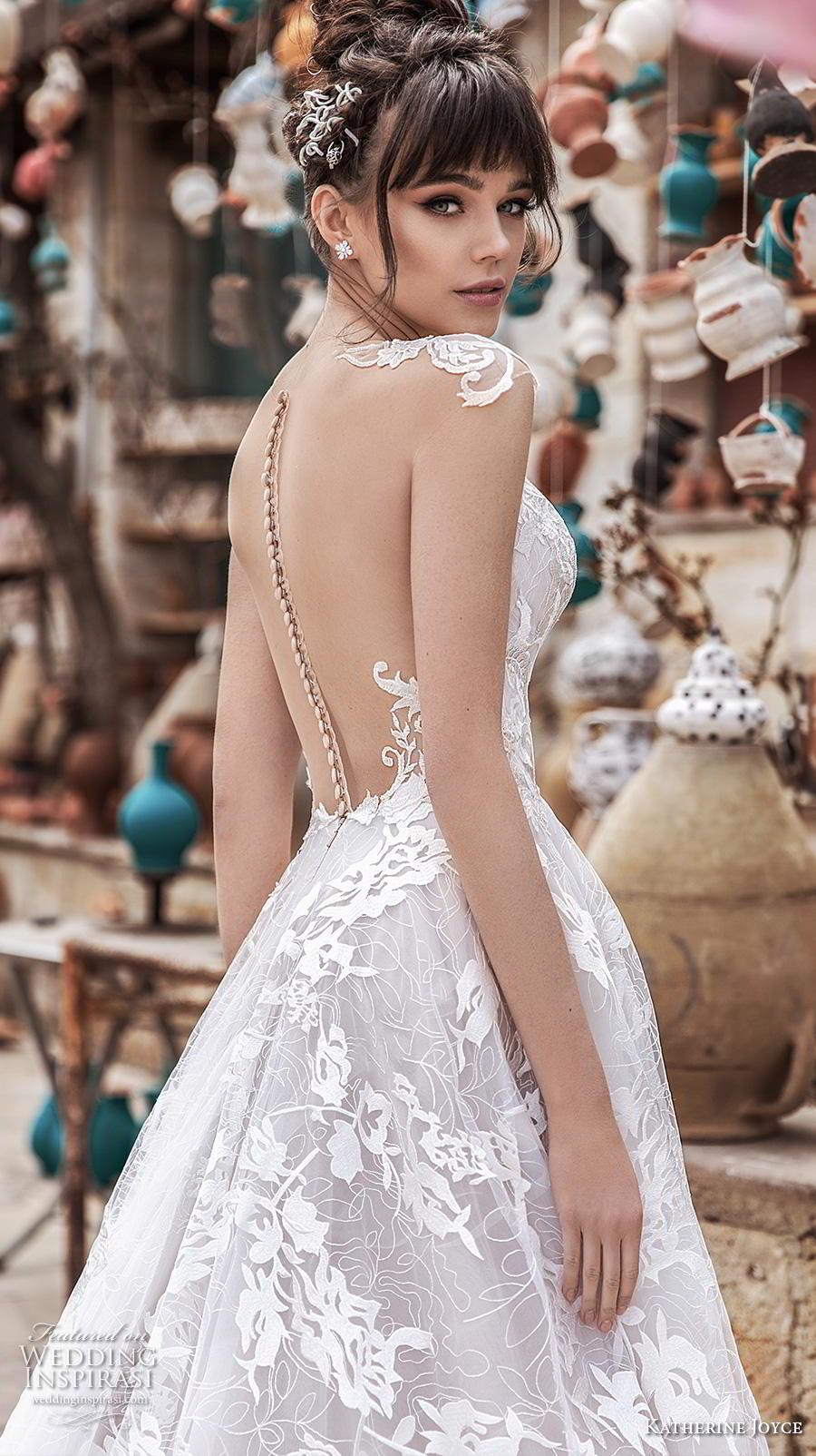 katherine joyce 2020 bridal cap sleeves illusion bateau sweetheart neckline full embellishment slit skirt glamorous princess a  line wedding dress sheer button back chapel train (5) zbv