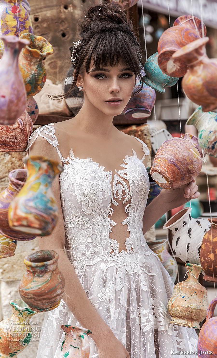 katherine joyce 2020 bridal cap sleeves illusion bateau sweetheart neckline full embellishment slit skirt glamorous princess a  line wedding dress sheer button back chapel train (5) zv