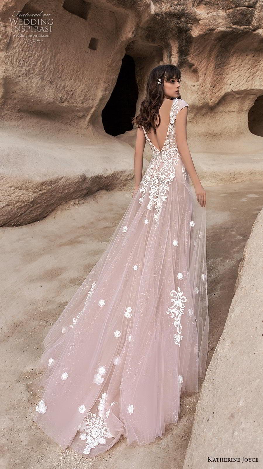 katherine joyce 2020 bridal cap sleeves illusion bateau v neck full embellishment romantic blush soft a  line wedding dress backless v back chapel train (2) bv
