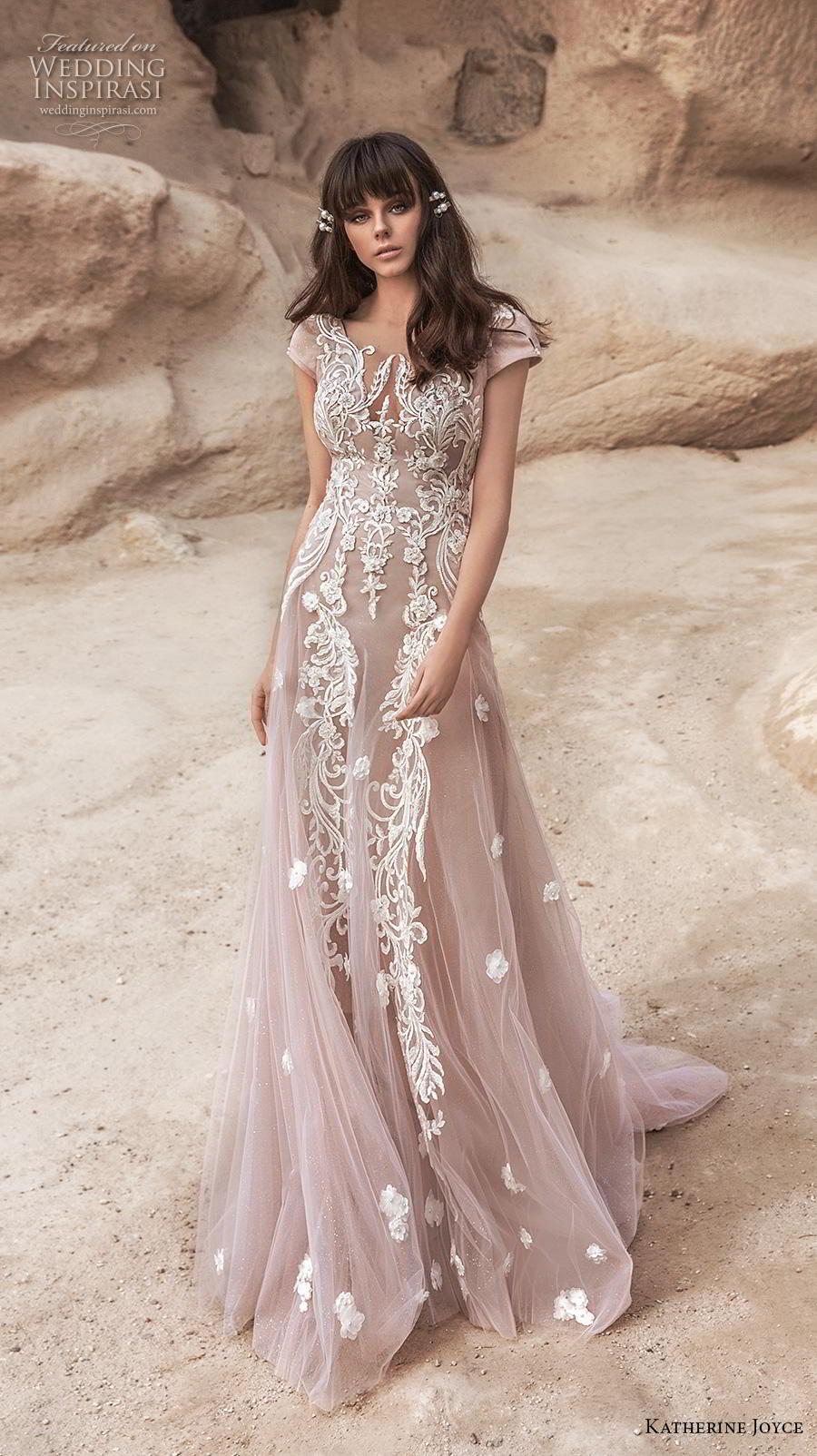 katherine joyce 2020 bridal cap sleeves illusion bateau v neck full embellishment romantic blush soft a  line wedding dress backless v back chapel train (2) mv
