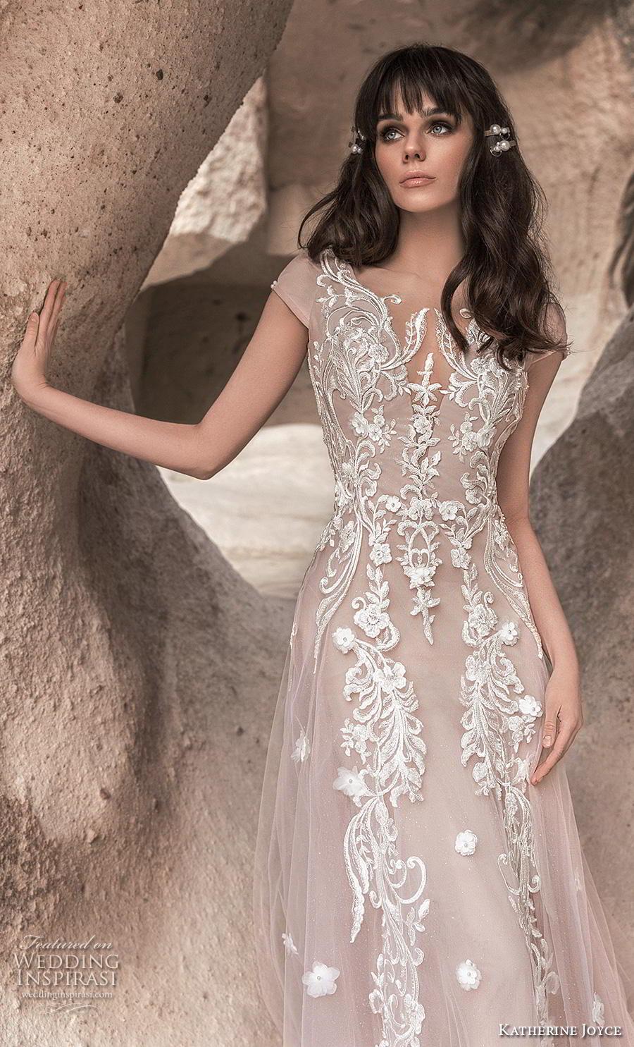katherine joyce 2020 bridal cap sleeves illusion bateau v neck full embellishment romantic blush soft a  line wedding dress backless v back chapel train (2) zv