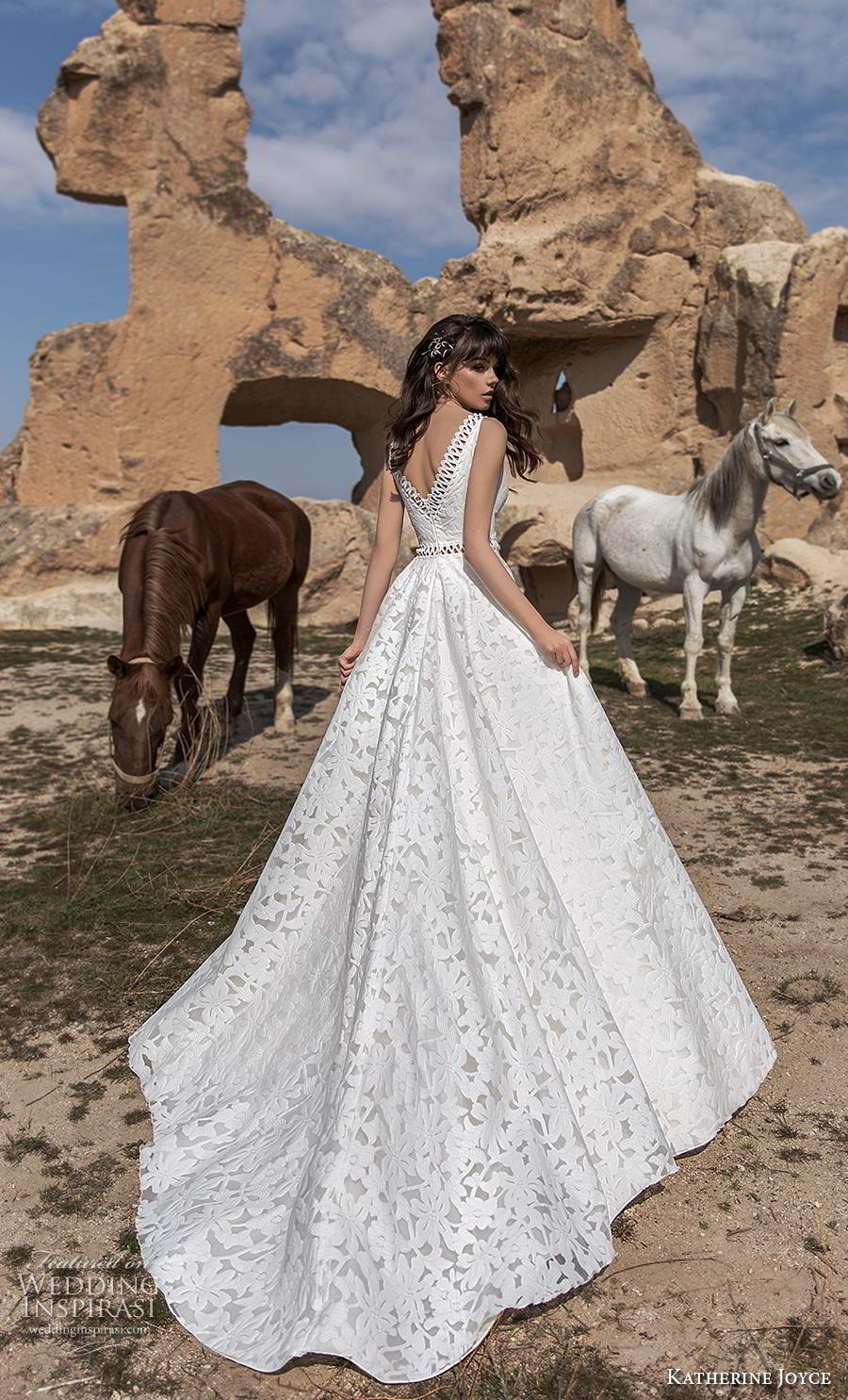 katherine joyce 2020 bridal cold shoulder long funnel sleeves v neck full embellishment romantic bohemian a  line wedding dress open v back chapel train (1) bv