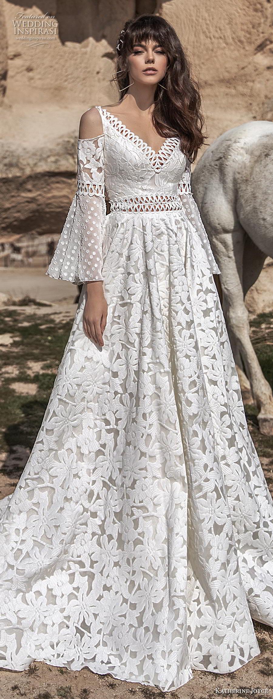 katherine joyce 2020 bridal cold shoulder long funnel sleeves v neck full embellishment romantic bohemian a  line wedding dress open v back chapel train (1) lv