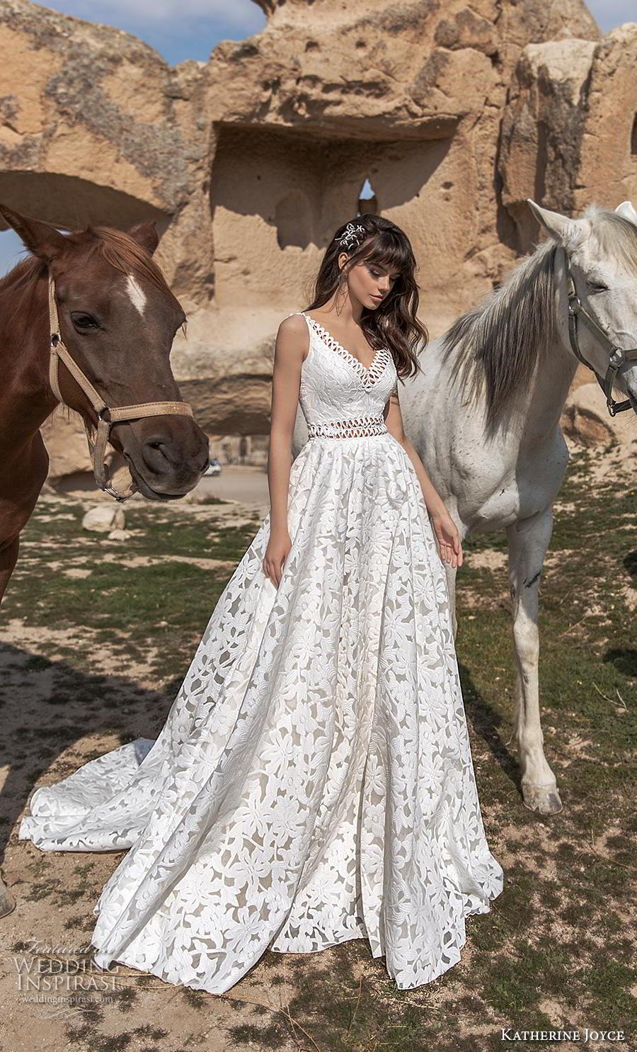 katherine joyce 2020 bridal cold shoulder long funnel sleeves v neck full embellishment romantic bohemian a  line wedding dress open v back chapel train (1) mv