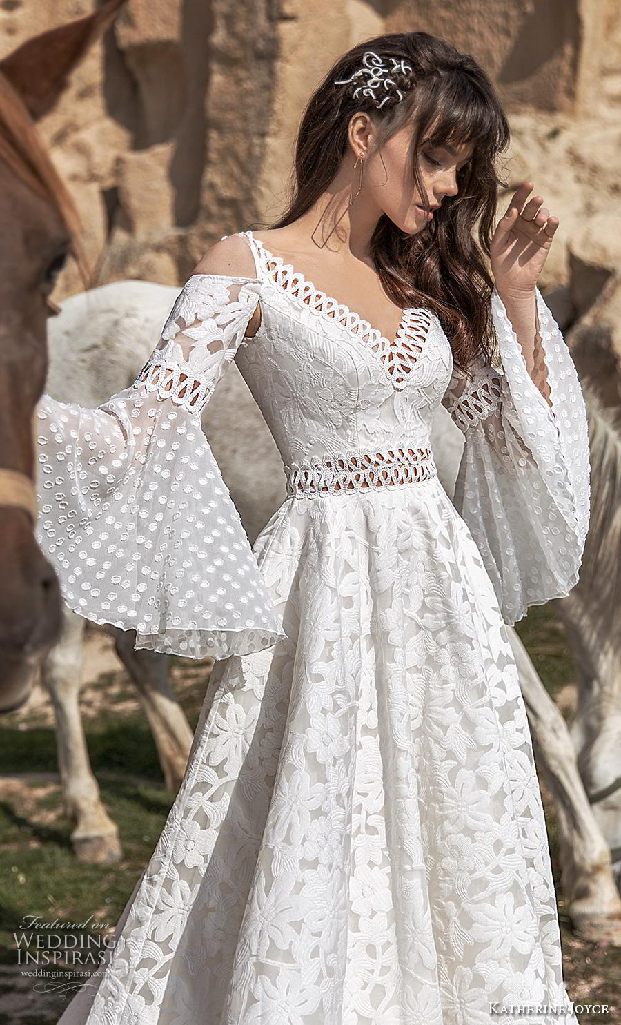 katherine joyce 2020 bridal cold shoulder long funnel sleeves v neck full embellishment romantic bohemian a  line wedding dress open v back chapel train (1) zv