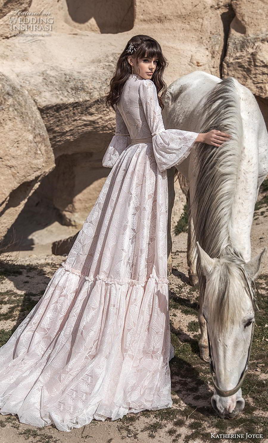 katherine joyce 2020 bridal long lantern sleeves high neck full embellishment modest vintage a  line wedding dress covered back chapel train (16) bv