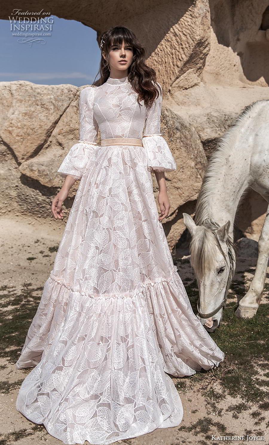 katherine joyce 2020 bridal long lantern sleeves high neck full embellishment modest vintage a  line wedding dress covered back chapel train (16) mv