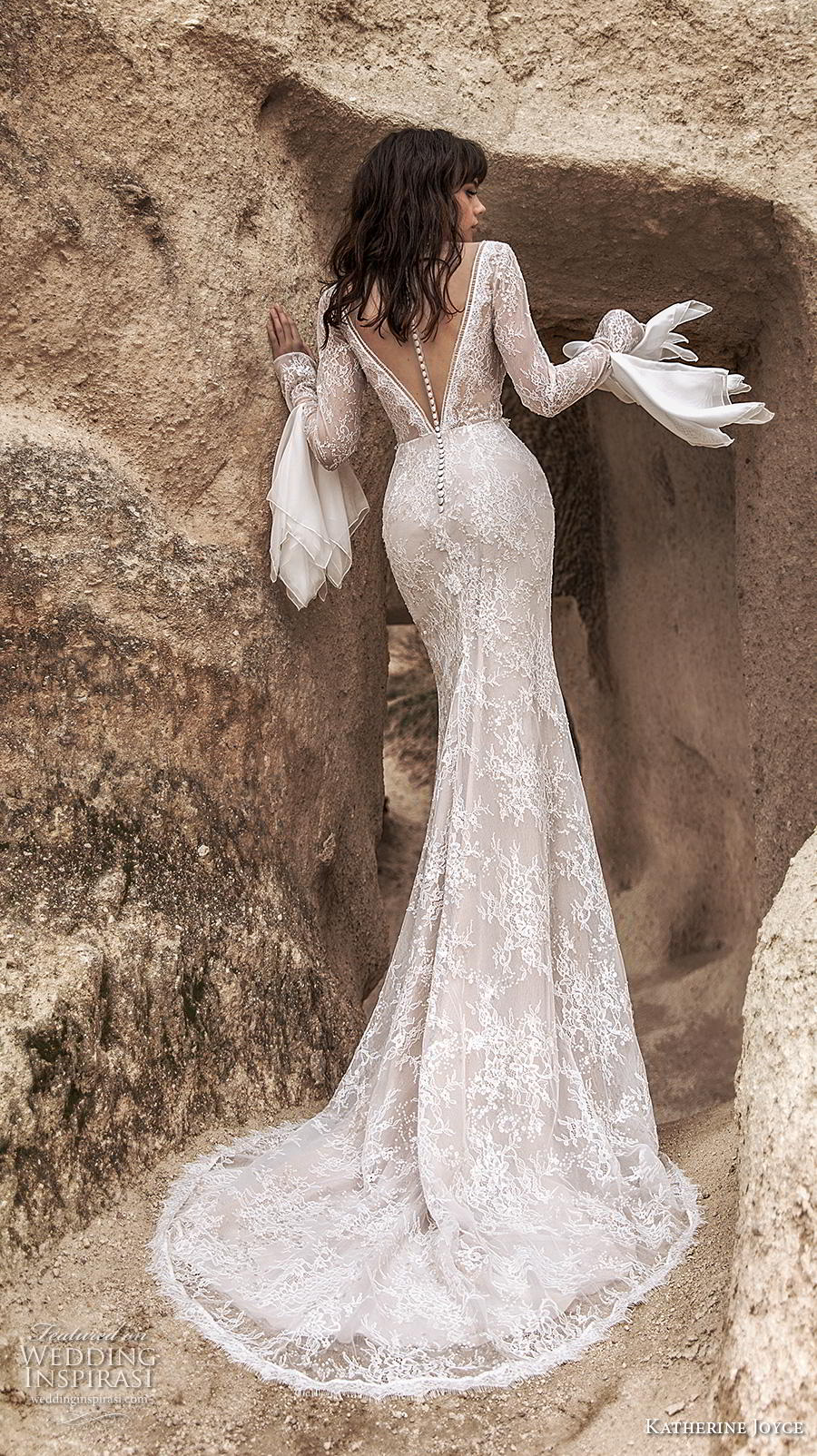 katherine joyce 2020 bridal long sleeves deep plunging v neck full embellishment slit skirt elegant sheath wedding dress v back sweep train (12) bv