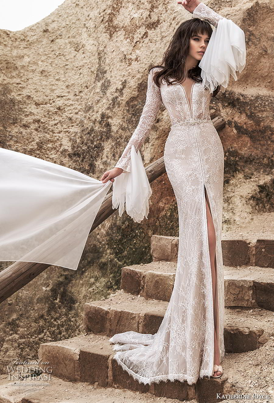 katherine joyce 2020 bridal long sleeves deep plunging v neck full embellishment slit skirt elegant sheath wedding dress v back sweep train (12) mv