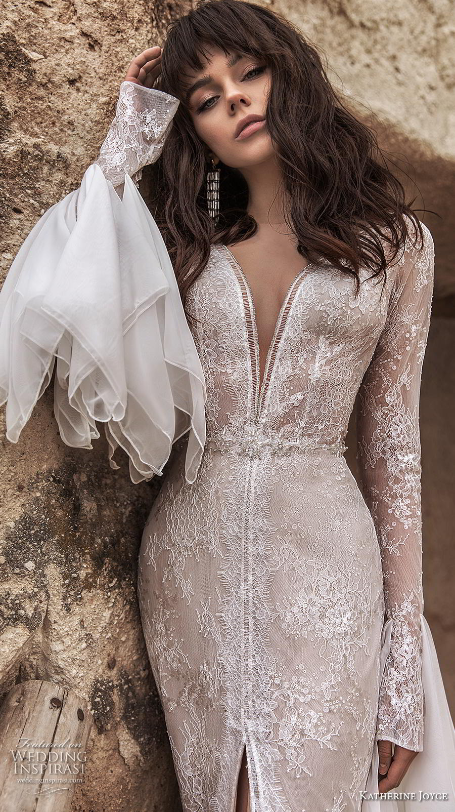 katherine joyce 2020 bridal long sleeves deep plunging v neck full embellishment slit skirt elegant sheath wedding dress v back sweep train (12) zv