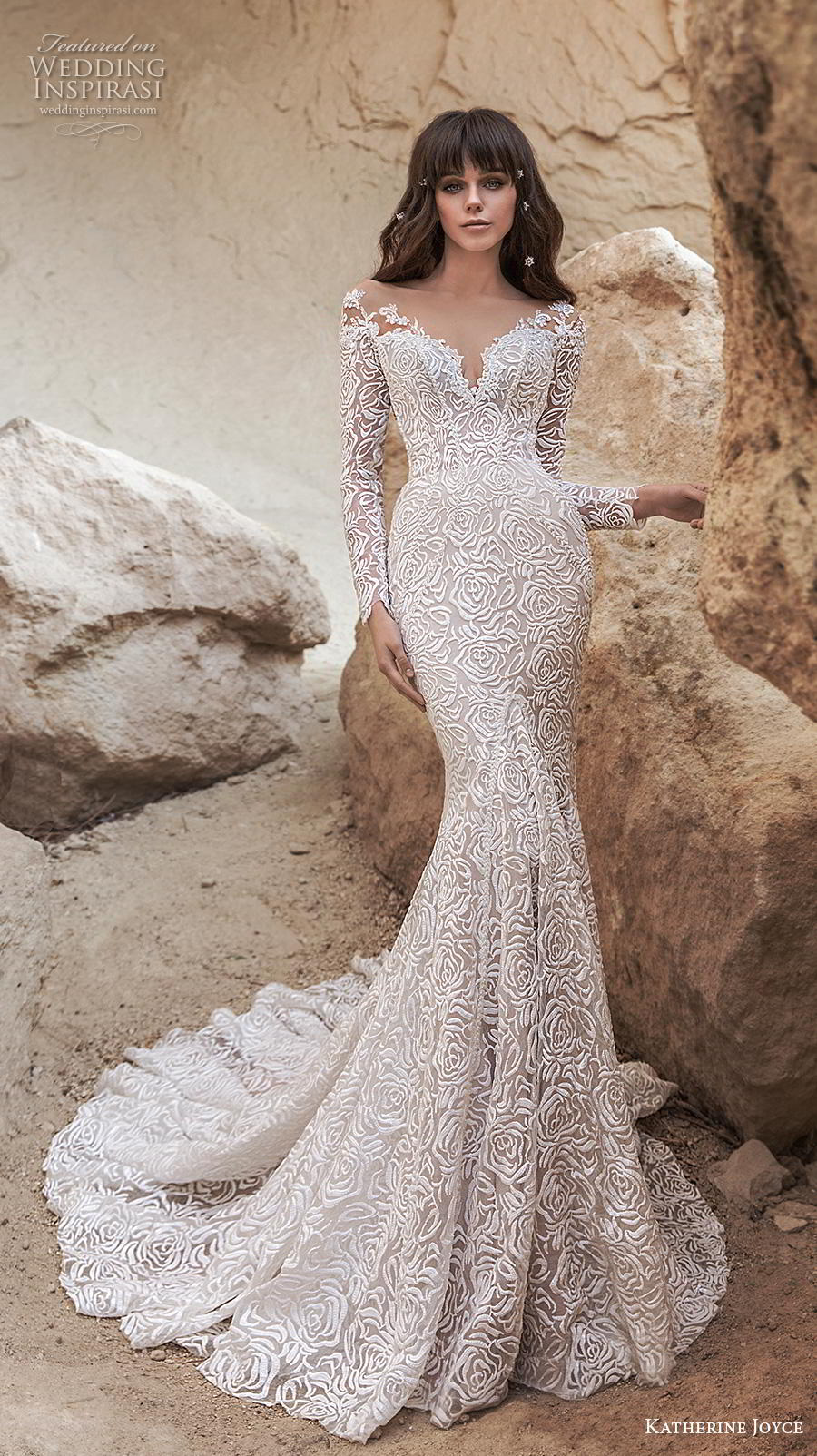 katherine joyce 2020 bridal long sleeves illusion bateau sweetheart neckline full embellishment elegant fit and flare wedding dress sheer button back chapel train (3) mv