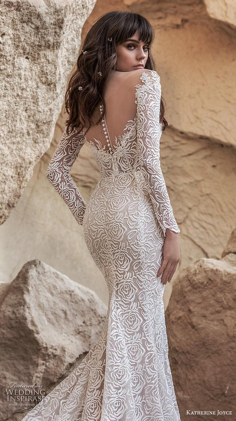 katherine joyce 2020 bridal long sleeves illusion bateau sweetheart neckline full embellishment elegant fit and flare wedding dress sheer button back chapel train (3) zbv