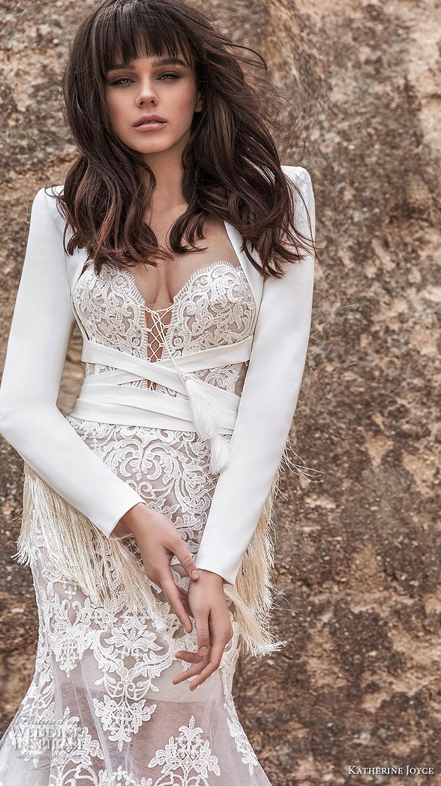 katherine joyce 2020 bridal long sleeves jacket sweetheart neckline full embellishment elegant romantic fit and flare wedding dress mid back chapel train (11) zv