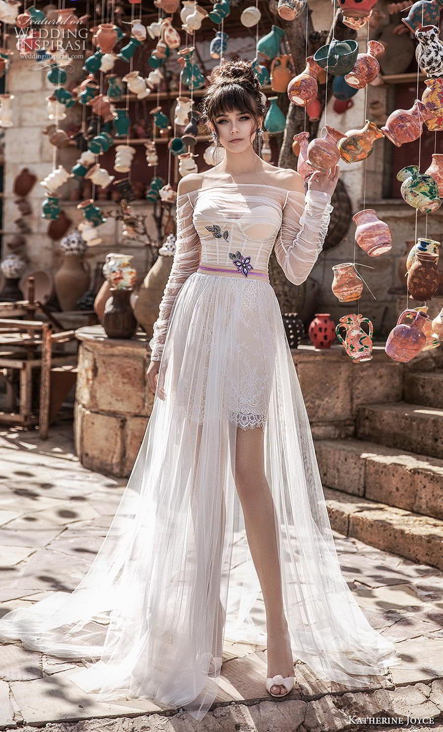 katherine joyce 2020 bridal long sleeves off the shoulder illusion straight across sweetheart neckline ruched bodice romantic short wedding dress a  line overskirt  chapel train (13) mv