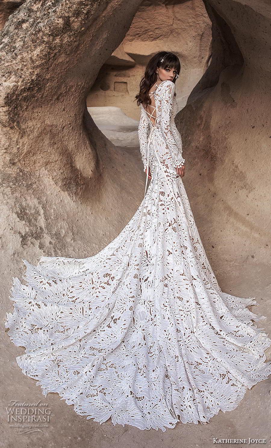 katherine joyce 2020 bridal long sleeves scoop neck full embellishment modern fit and flare trumpet wedding dress cross strap back chapel train (6) bv
