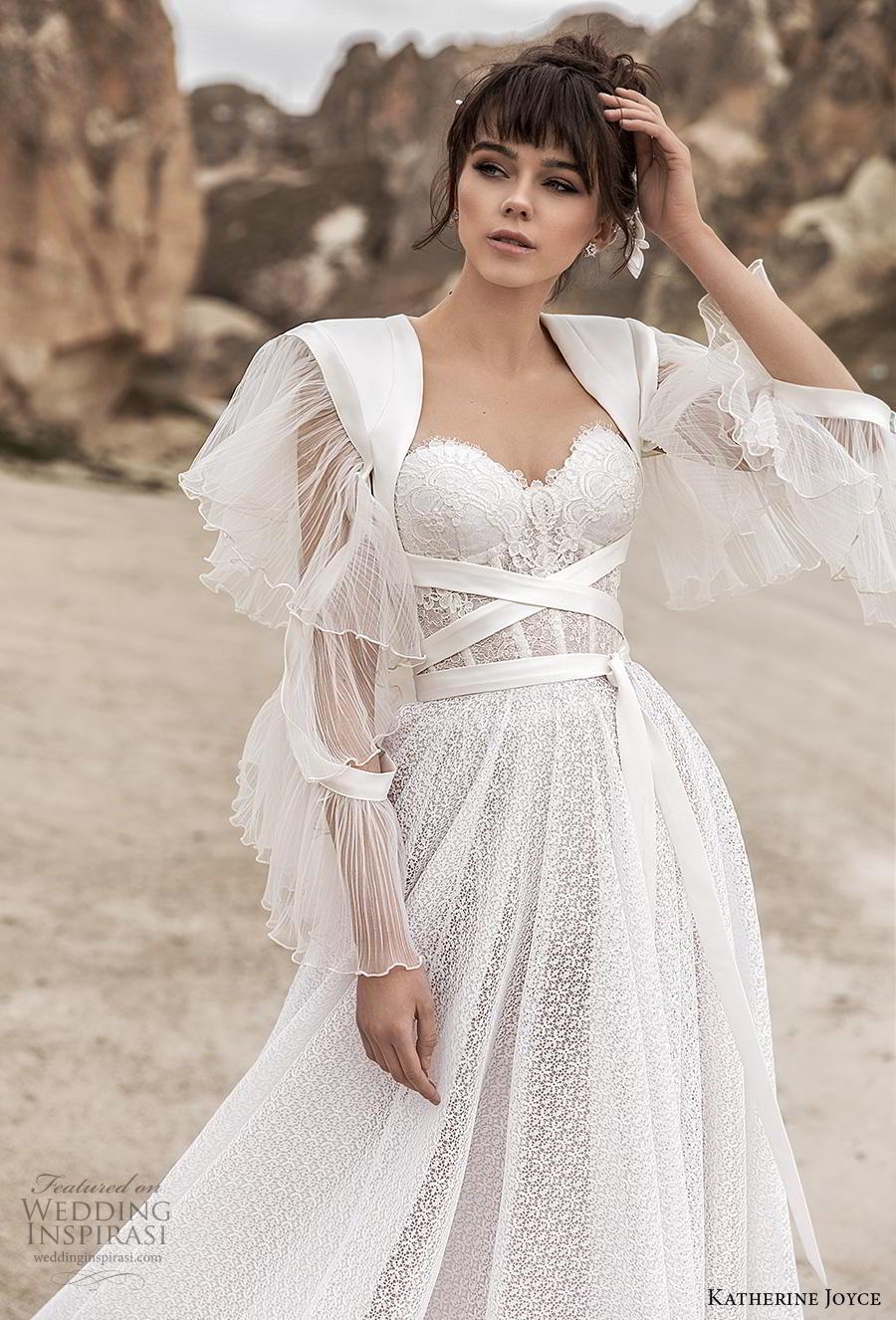 katherine joyce 2020 bridal long sleeves sweetheart neckline full embellishment bustier romantic a  line wedding dress mid back chapel train (10) zv